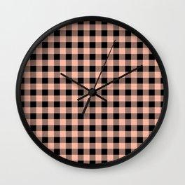 Plaid (pink/black) Wall Clock