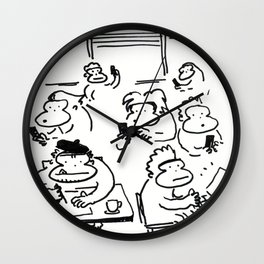 Ape Artist Draws at the Coffee Shop Wall Clock