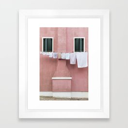 The Pink House with the Hanging Wash Framed Art Print
