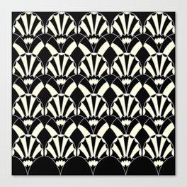 Art Deco Fans 1.3 Black Background Silver & Cream Canvas Print