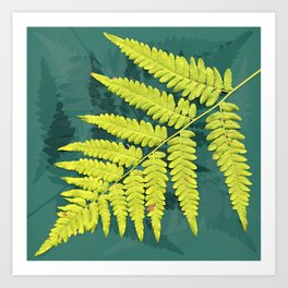 From the forest - lime green on teal Art Print