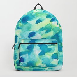 Blue, Green and Aqua Abstract Watercolor Painted Spots Backpack