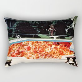 Pizza Pool Party Collage Rectangular Pillow