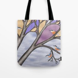 red breasted nuthatches in the stained glass tree Tote Bag