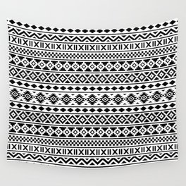 Aztec Essence Pattern Black on White Wall Tapestry