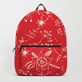 Winter Floral Red Backpack