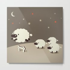 Sheeps jumping across a Fence Metal Print