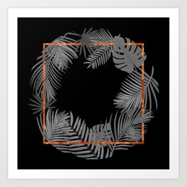TROPICAL SQUARE COPPER BLACK AND GRAY Art Print