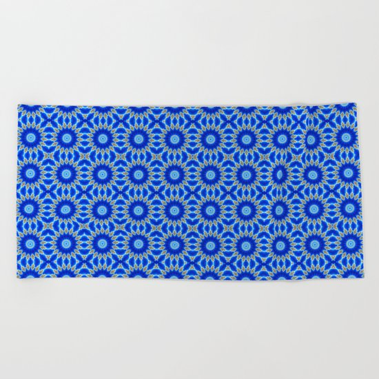 Blue and Yellow Circle Repeating Pattern Beach Towel