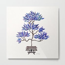 Bonsai Tree – Navy Palette Metal Print