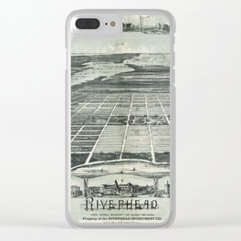 Aerial View of Riverhead, Long Island, New York (1890) Clear iPhone Case