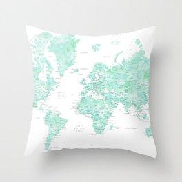 "Light mint watercolor world map, detailed, ""Desie"" Throw Pillow"