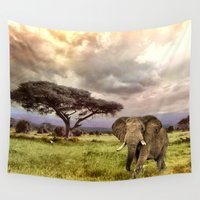 novelty Wall Tapestries featuring Elephant Landscape Collage by Moody Muse