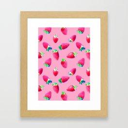 Pink Strawberry Pop Framed Art Print