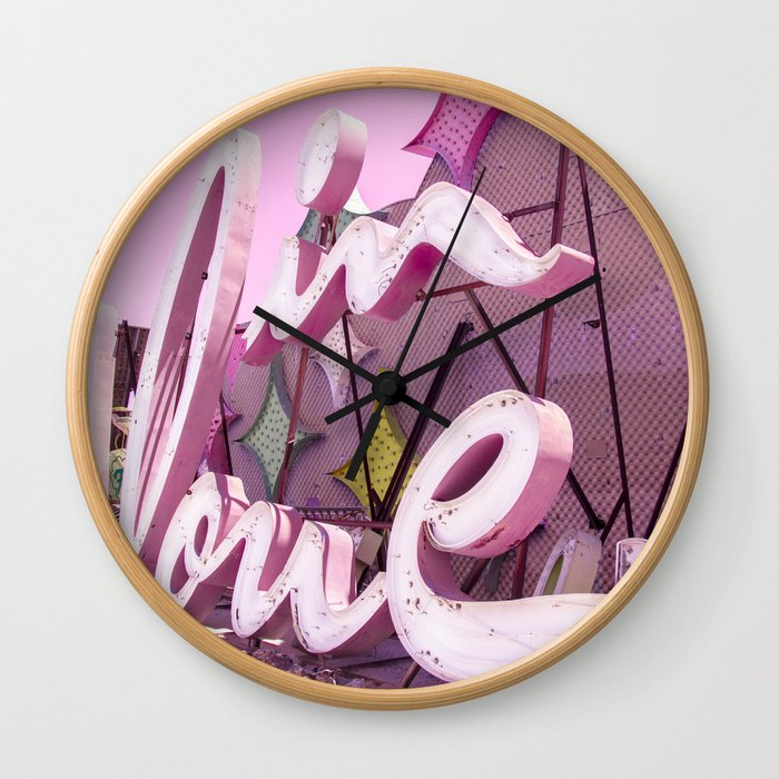 """Pink """"In Love"""" Sign at the Neon Museum in Las Vegas, Nevada Wall Clock"""