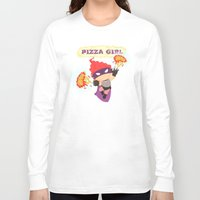 superheros Long Sleeve T-shirts featuring Pizzagirl by Alapapaju