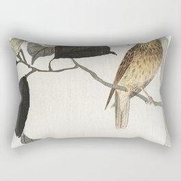 Songbird and flowering camellia (1900 - 1910) by Ohara Koson (1877-1945) Rectangular Pillow