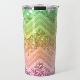Rainbow Glitter Chevron #1 #shiny #decor #art #society6 Travel Mug
