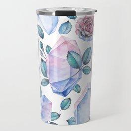 Watercolor crystal and rose leaves Travel Mug