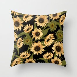 Sunflower Fields with Black Throw Pillow