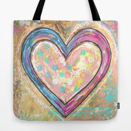 blue and pink hearts Tote Bag
