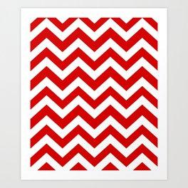 Rosso corsa - red color - Zigzag Chevron Pattern Art Print