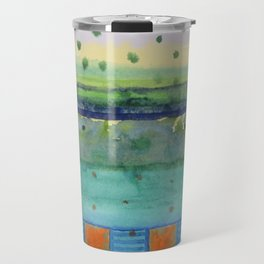 Orange Posts With Landscape Travel Mug