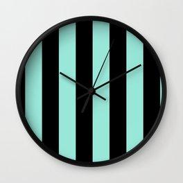 Classic Cabana Stripes in Mint + Black Wall Clock
