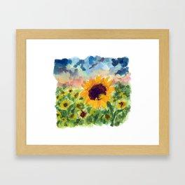 Sunflower Sunset Framed Art Print