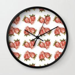 Watercolor Strawberry Pattern Wall Clock