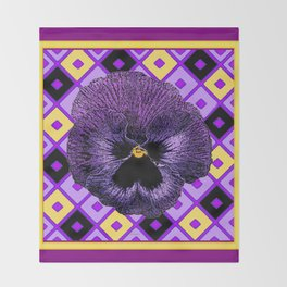Yellow & Purple Checkered Pansy Pattern Throw Blanket