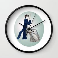 pride and prejudice Wall Clocks featuring Fashion Illustration - Pride & Prejudice by BeckiBoos