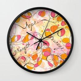 Flourish: Strength. Hope. Courage. Wall Clock