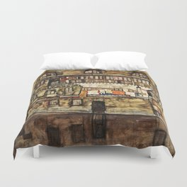 Egon Schiele - House Wall On The River Duvet Cover