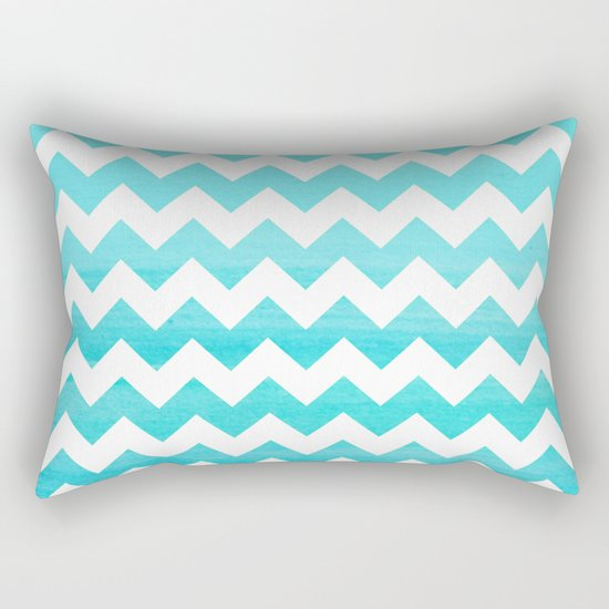 Aqua Blue chevron ZigZag Herringbone - watercolor on white pattern #Society6 Rectangular Pillow