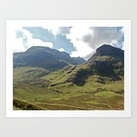 scotland Art Prints featuring Scotland Hills by Shelly Navarre