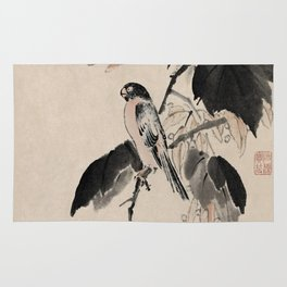 Ink Painting Calligraphy, Bird and Phoenix Tree, Wutong, Ming Dynasty, Hand Drawing Ancient Painting Rug