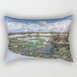 Grand Tetons from Willow Flats in Early April Rectangular Pillow