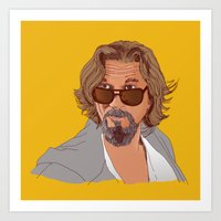lebowski Art Prints featuring Jeff Lebowski by sam mitchell