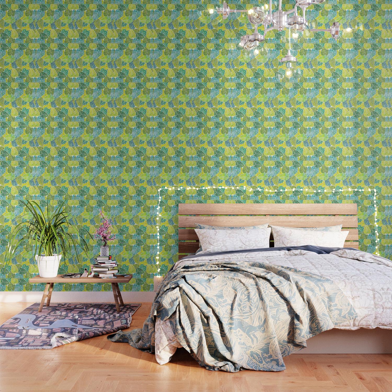 Tropical Leaves Alocasia Elephant Ear Plant Blue Green Wallpaper