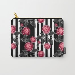 Red roses on black and white striped background. Carry-All Pouch
