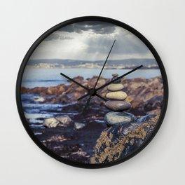 Rock Balancing At The Beach Wall Clock