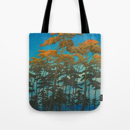 Vintage Japanese Woodblock Print Art Print Tall Sunset Trees Silhouette Twilight Forest East Asian Tote Bag