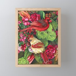 Cardinal Flower Bouquet Drawing Framed Mini Art Print