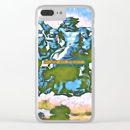 Blue Father Almighty GOD Clear iPhone Case