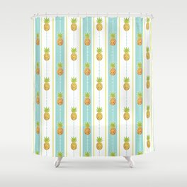 Vintage Glitter Pineapples Shower Curtain