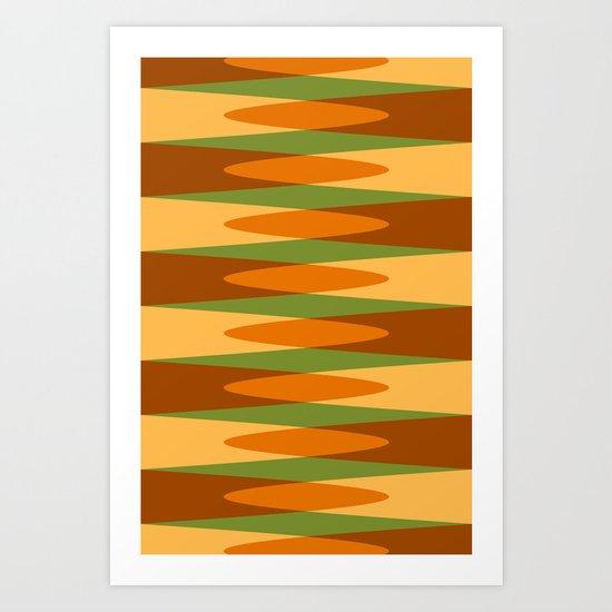 Retro pattern orange green Art Print
