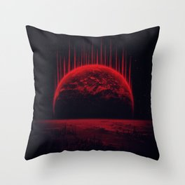 Lost Home! Colosal Future Sci-Fi Deep Space Scene in diabolic Red Throw Pillow