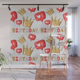 Birthday Pattern | Crown Illustration Wall Mural