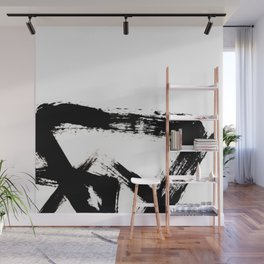 Brushstroke [8] - a simple, abstract, black and white india ink piece Wall Mural